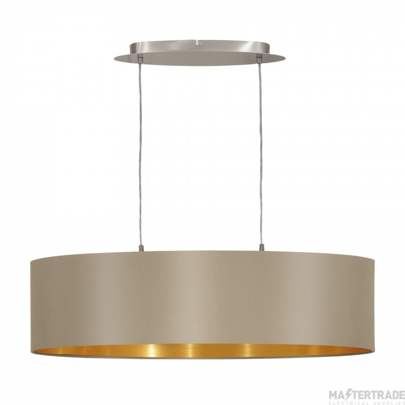 Eglo 31613 Maserlo Two Light Ceiling Pendant In Satin Nickel With Taupe And Gold Shade - L: 780mm
