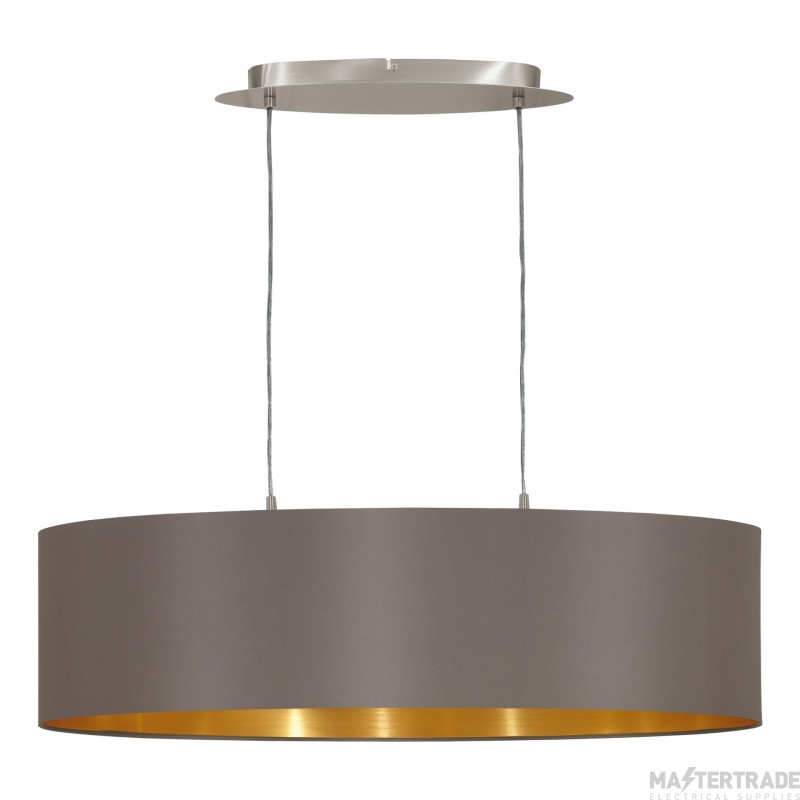 Eglo 31614 Maserlo Two Light Ceiling Pendant In Satin Nickel With Cappucino And Gold Shade - L 780mm