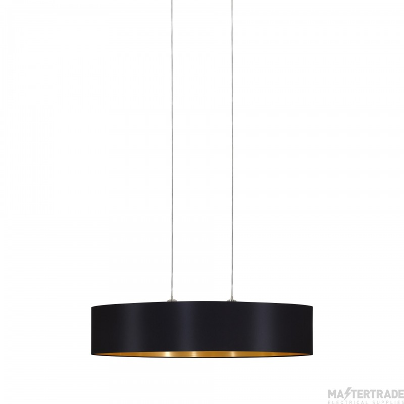 Eglo 31616 Maserlo Two Light Ceiling Pendant In Satin Nickel With Black And Gold Shade L: 1000mm