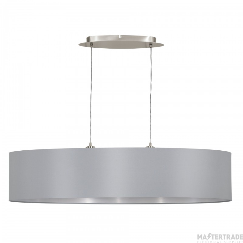 Eglo 31617 Maserlo Two Light Ceiling Pendant In Satin Nickel With Silver And Grey Shade - L: 1000mm