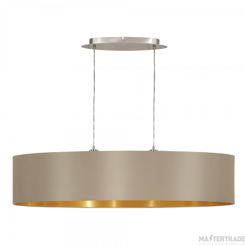 Eglo 31618 Maserlo Two Light Ceiling Pendant In Satin Nickel With Taupe And Gold Shade - L: 1000mm