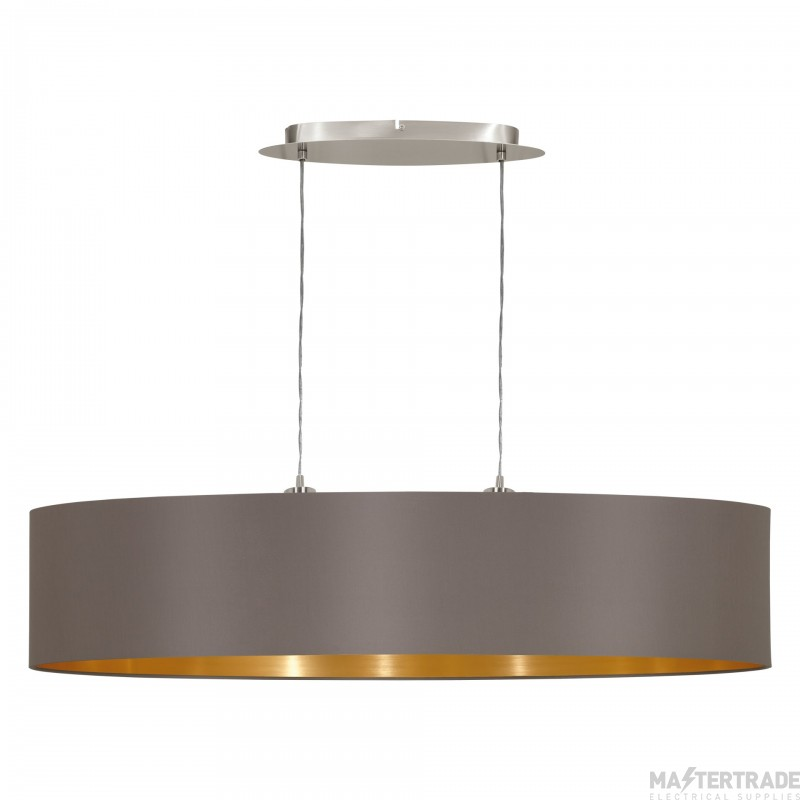 Eglo 31619 Maserlo Two Light Ceiling Pendant In Satin Nickel With Cappucino And Gold Shade - L 1000mm