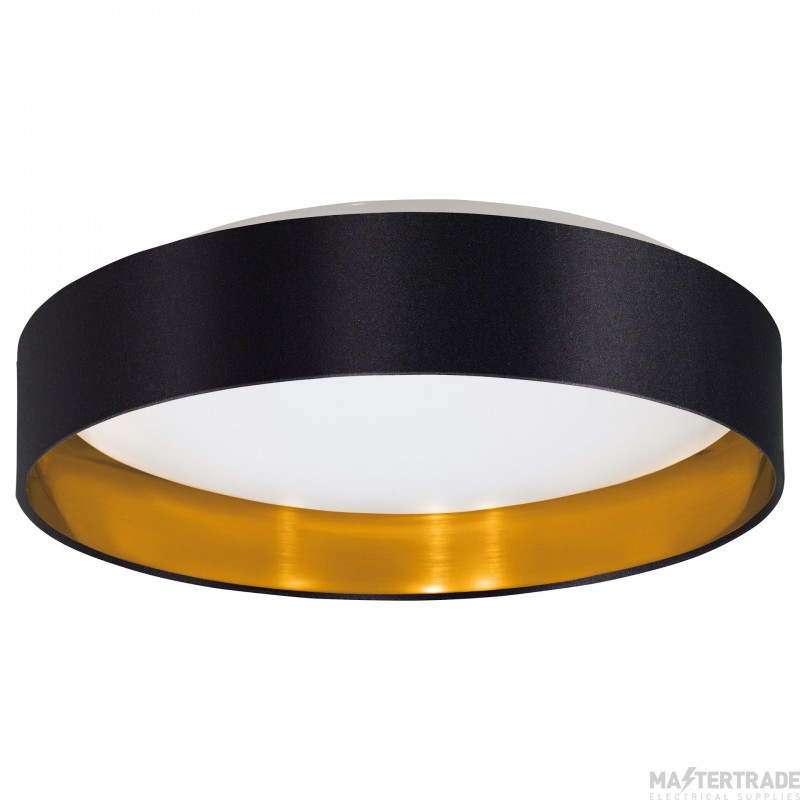 Eglo 31622 Maserlo Flush Ceiling Light In White With Black And Gold Fabric Shade