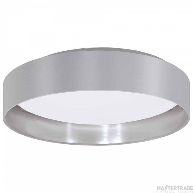 Eglo 31623 Maserlo Ceiling Flush Light In White With Silver And Grey Shade