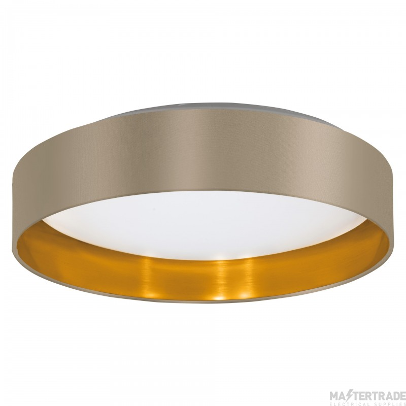 Eglo 31624 Maserlo Ceiling Flush Light In White With Taupe And Gold Shade