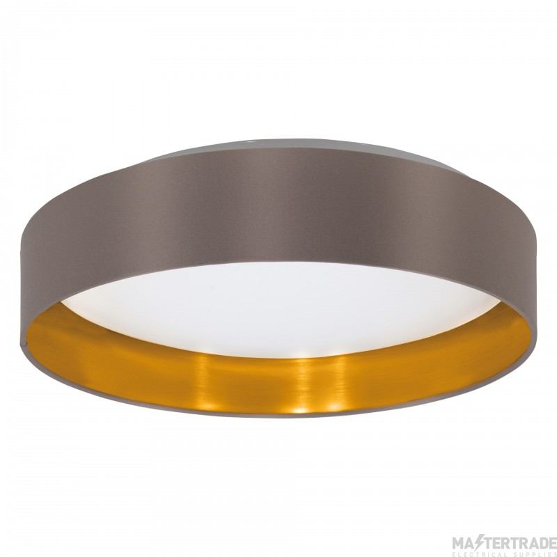 Eglo 31625 Maserlo Ceiling Flush Light In Satin Nickel With Cappucino And Gold Shade
