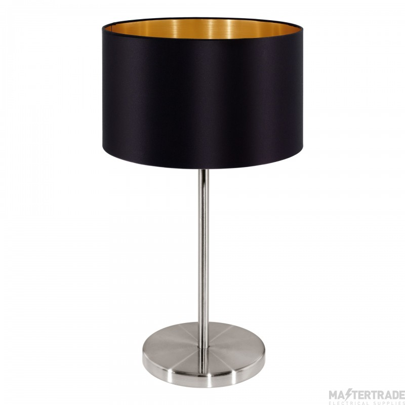 Eglo 31627 Maserlo One Light Table Lamp In Satin Nickel With Black And Gold Shade - H: 420mm