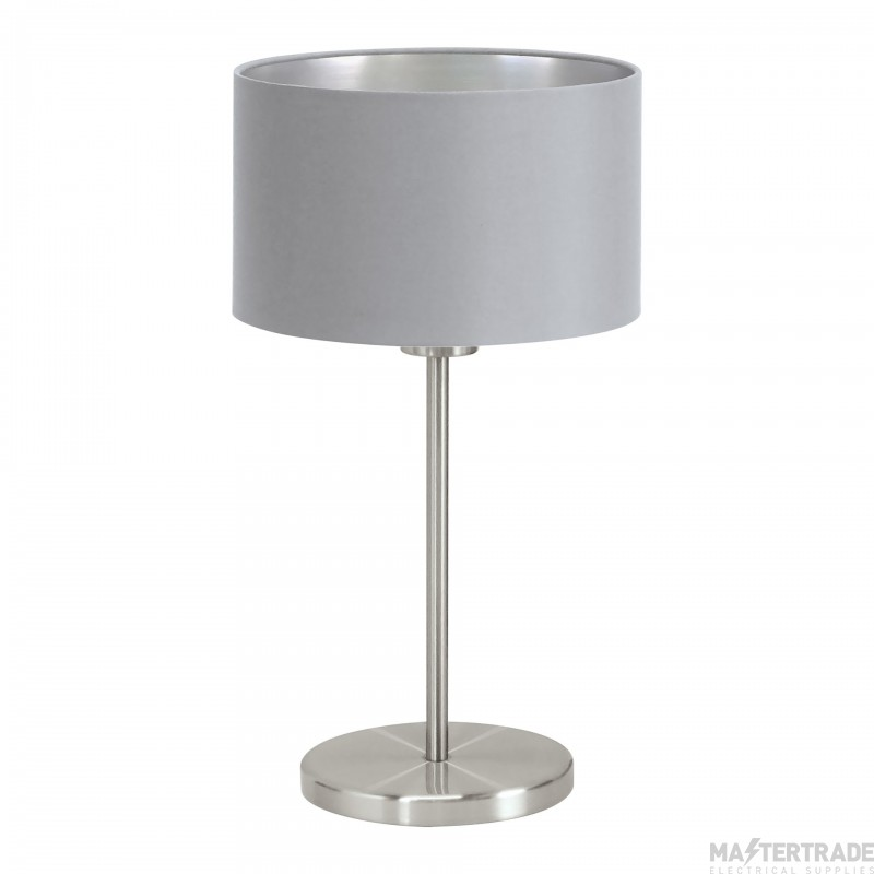 Eglo 31628 Maserlo One Light Table Lamp In Satin Nickel With Silver And Grey Shade - H: 420mm