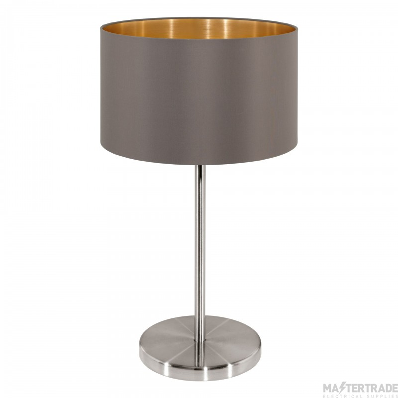 Eglo 31631 Maserlo One Light Table Lamp In Satin Nickel With Cappucino And Gold Shade - H 420mm