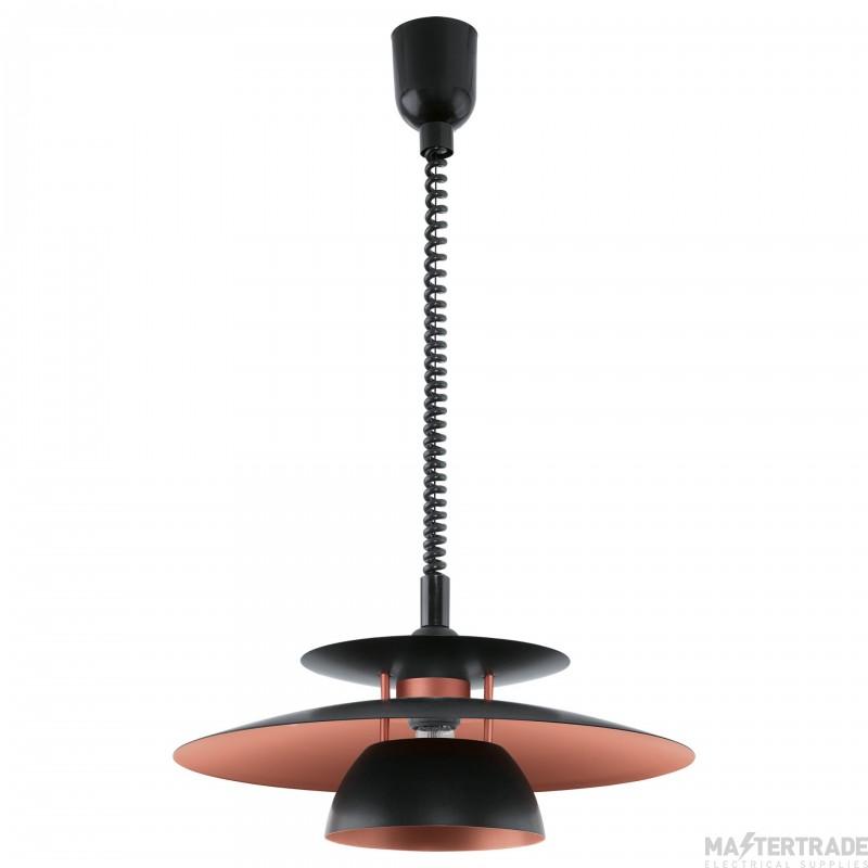Eglo 31666 Brenda One Light Ceiling Pendant Light In Black And Copper