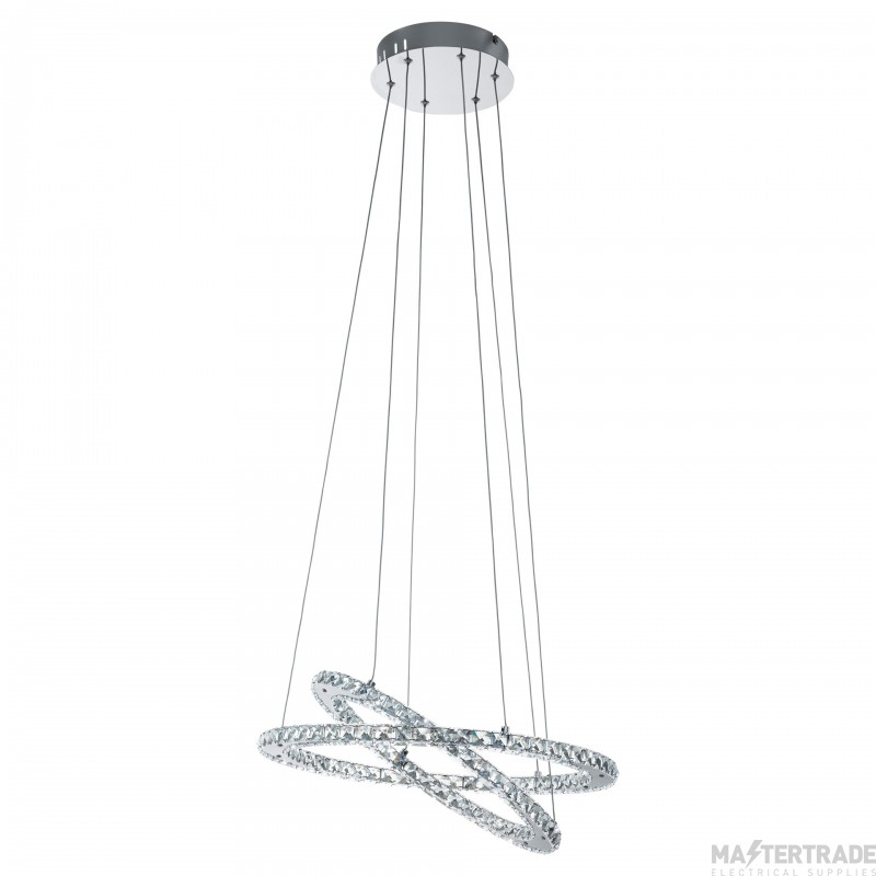 Eglo 31667 Varrazo Double Ringed Ceiling Pendant Light In Chrome And Clear Crystal