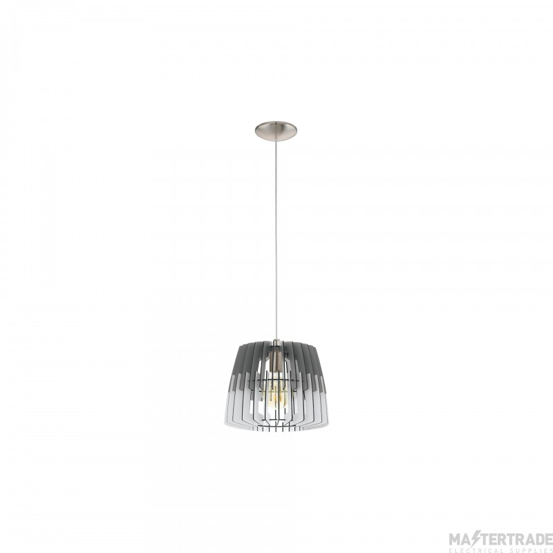 Eglo 32824 Artana One Light Ceiling Pendant Light In Wood, Grey And White - Dia: 300mm