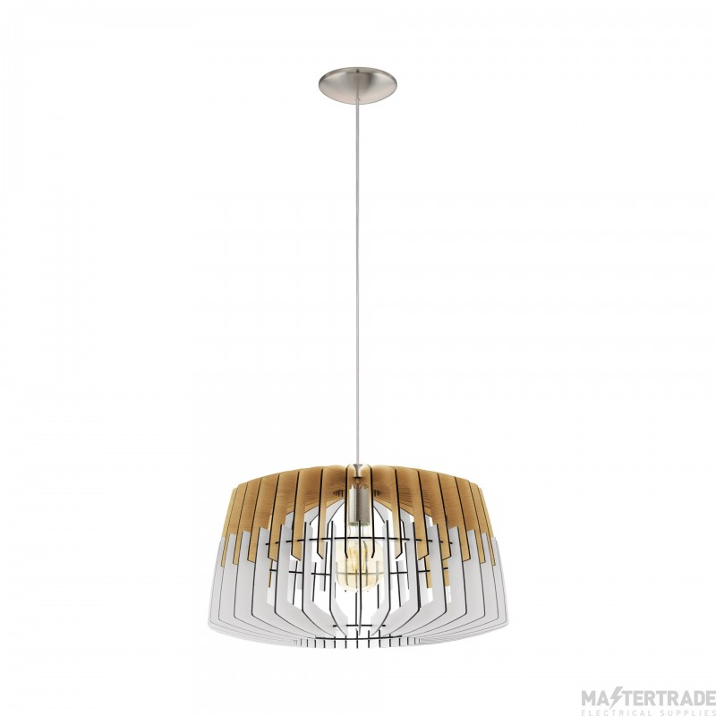 Eglo 32827 Artana One Light Ceiling Pendant Light In Wood, Natural And White - Dia: 480mm