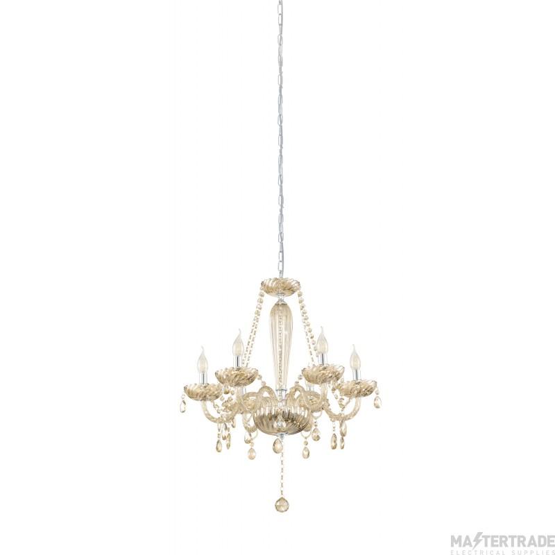 Eglo 39092 Basilano Six Light Ceiling Pendant Light In Chrome With Cognac Glass