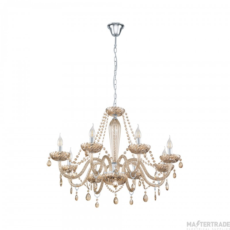 Eglo 39093 Basilano Eight Light Ceiling Pendant Light In Chrome With Cognac Glass