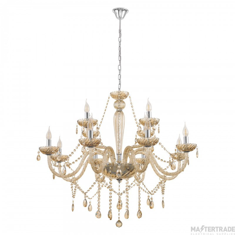 Eglo 39094 Basilano Twelve Light Ceiling Pendant Light In Chrome With Cognac Glass