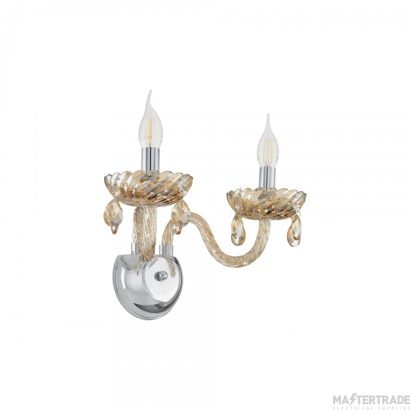Eglo 39097 Basilano Two Light Wall Light In Chrome With Cognac Glass