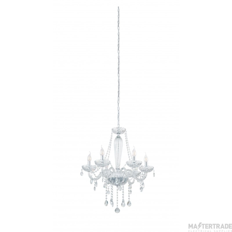 Eglo 39099 Basilano 1 Six Light Ceiling Pendant Light In Chrome With Clear Glass