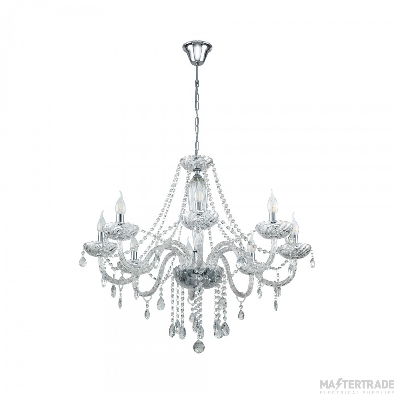 Eglo 39101 Basilano 1 Eight Light Ceiling Pendant Light In Chrome With Clear Glass