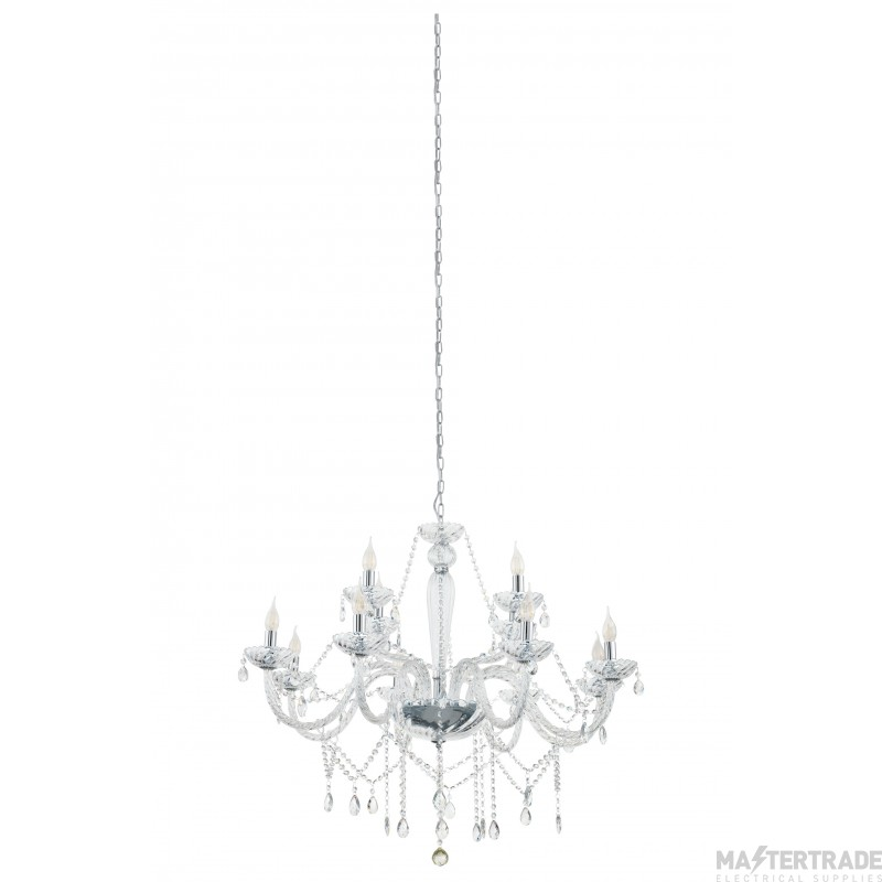 Eglo 39102 Basilano 1 Twelve Light Ceiling Pendant Light In Chrome With Clear Glass