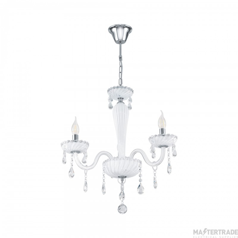 Eglo 39112 Carpento Three Light Ceiling Pendant Light In Chrome With White Glass