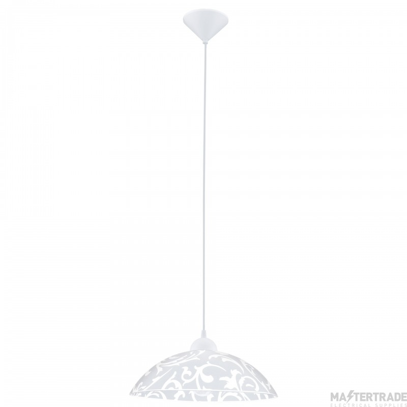Eglo 91237 Vetro One Light Ceiling Pendant Light In White With Decorated White Glass Shade