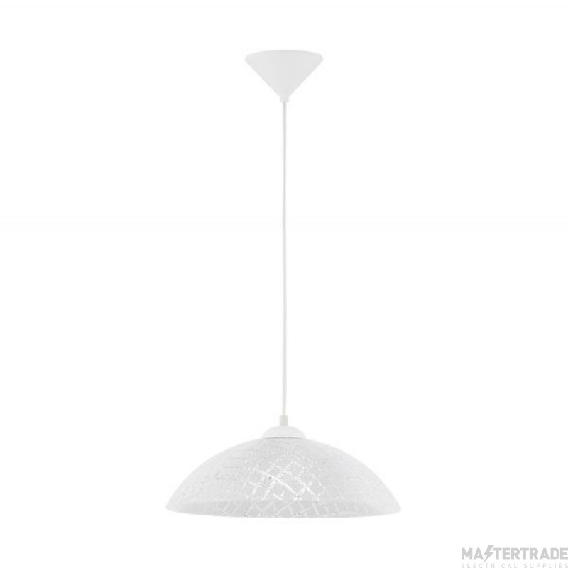 Eglo 96069 Vetro One Light Ceiling Pendant Light In White With Criss-Crossed White And Clear Glass