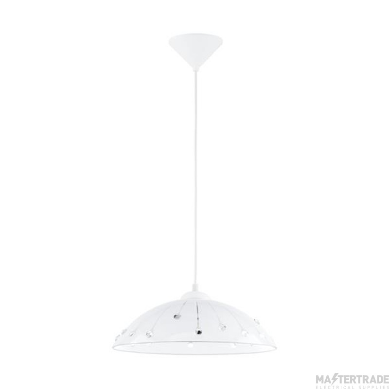Eglo 96073 Vetro One Light Ceiling Light In White With Satinated Glass And Crystals - D: 350mm