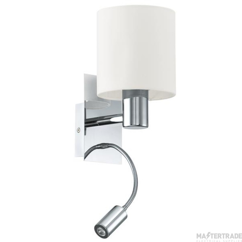 Eglo 96476 Halva Two Light Wall Light In Chrome With Beige Fabric Shade And LED Reading Light