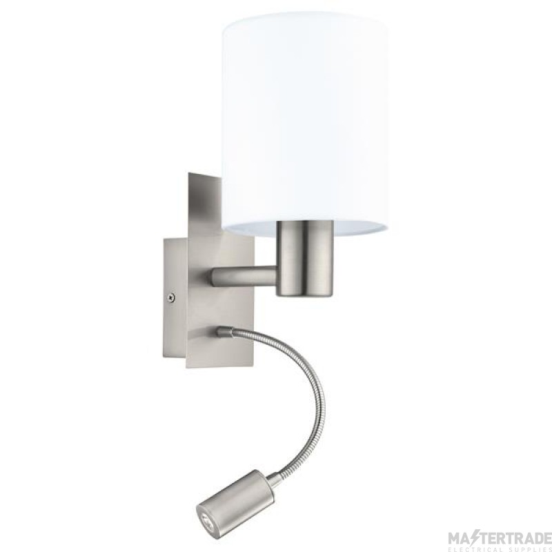 Eglo 96477 Pasteri Two Light Wall Light In Satin Nickel With White Shade With LED Reading Light