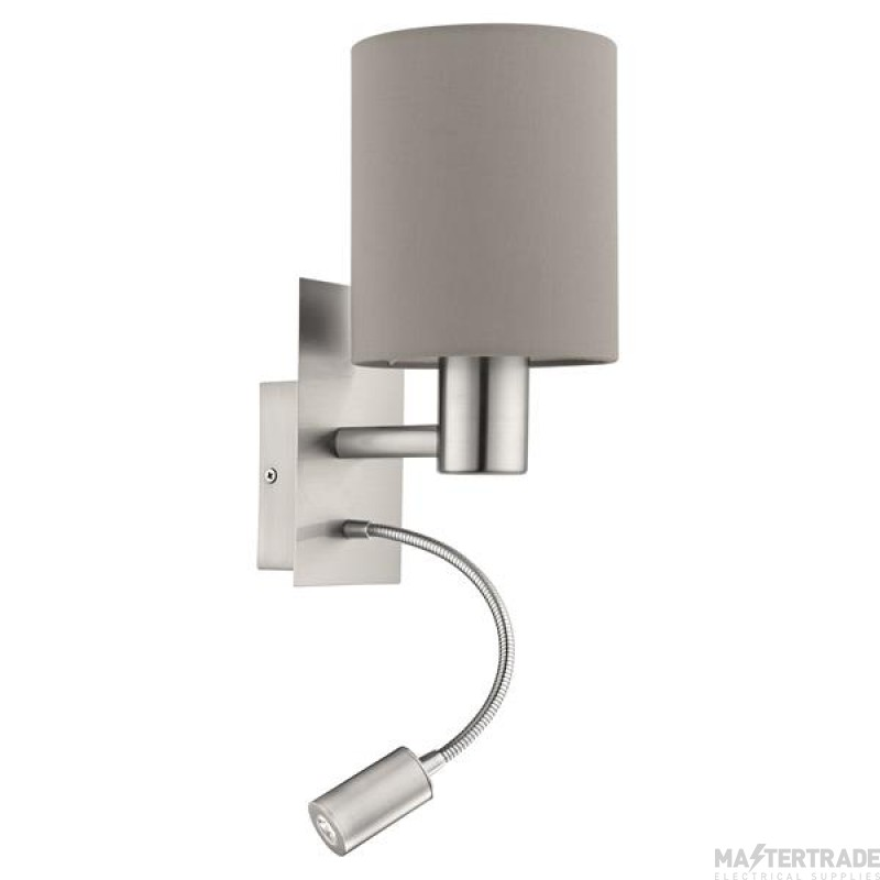 Eglo 96478 Pasteri Two Light Wall Light In Satin Nickel With Taupe Fabric Shade And LED Light