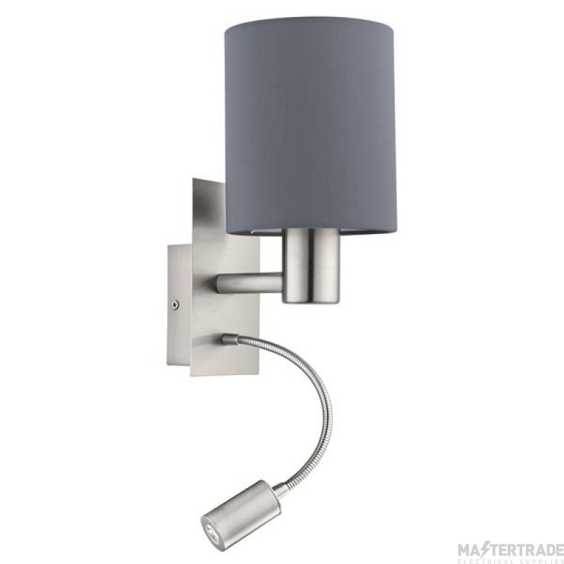 Eglo 96479 Pasteri Two Light Wall Light In Satin Nickel With Grey Fabric Shade And LED Light