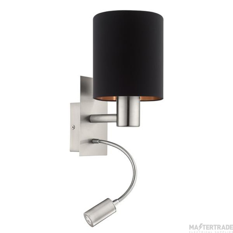 Eglo 96483 Pasteri Two Light Wall Light In Satin Nickel With Black And Copper Shade And LED Light