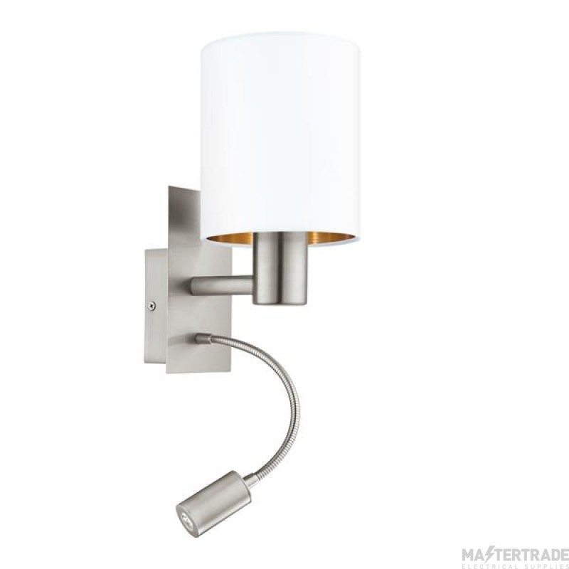 Eglo 96484 Pasteri Two Light Wall Light In Satin Nickel With White And Copper Shade And LED