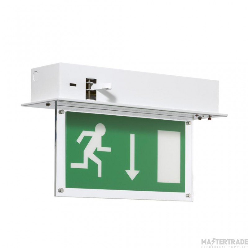 ELP SignalLED Recessed LED exit sign, maintained, brass SignalLED