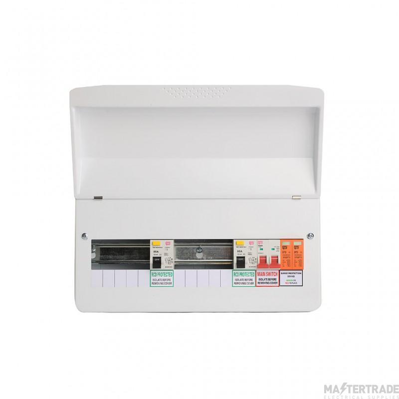 FuseBox Dual RCD Flex 10 Usable Ways Consumer Unit SPD T2  F1010DX (9 Usable Ways)