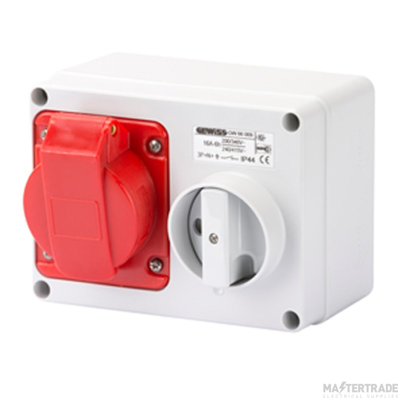 Gewiss GW66009 IP44 Red Interlocked Switched Socket 16A 3P+E+N 415V