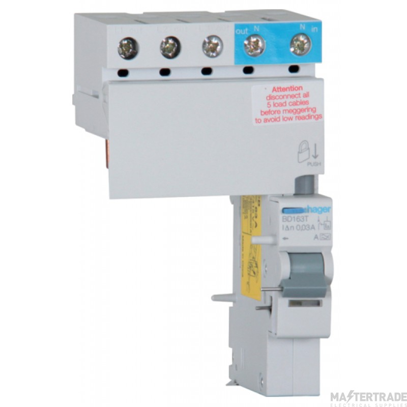 Hager BD163T RCD 3Phs Add-On A 63A 30mA