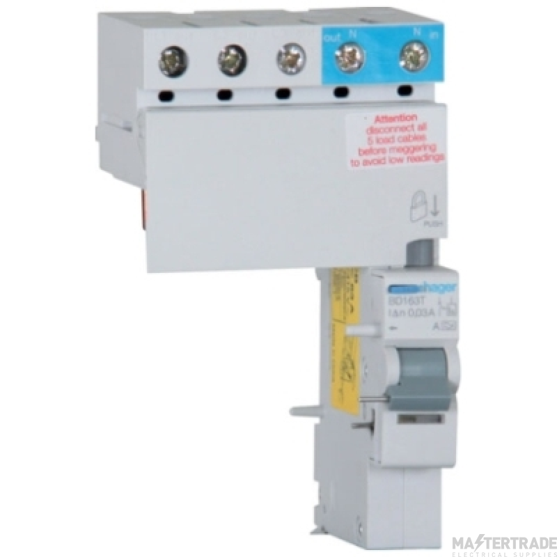 Hager BE163T RCD 3Phs Add-On A 63A 100mA