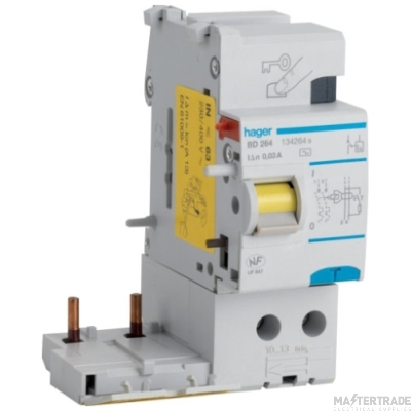 Hager BN264 RCCB DP Add-On 63A 100mA