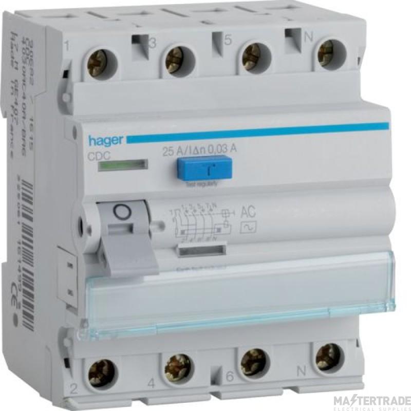 Hager CDC440U RCCB 4P AC 40A 30mA