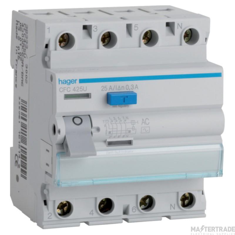 Hager CFC425U RCCB 4P AC 25A 300mA