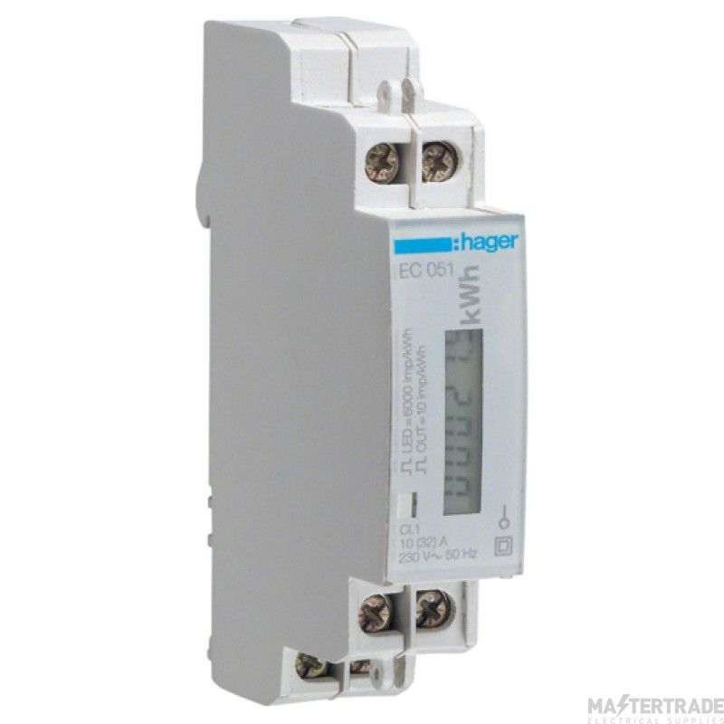 Hager EC051 Kilowatt Hour Meter 32A