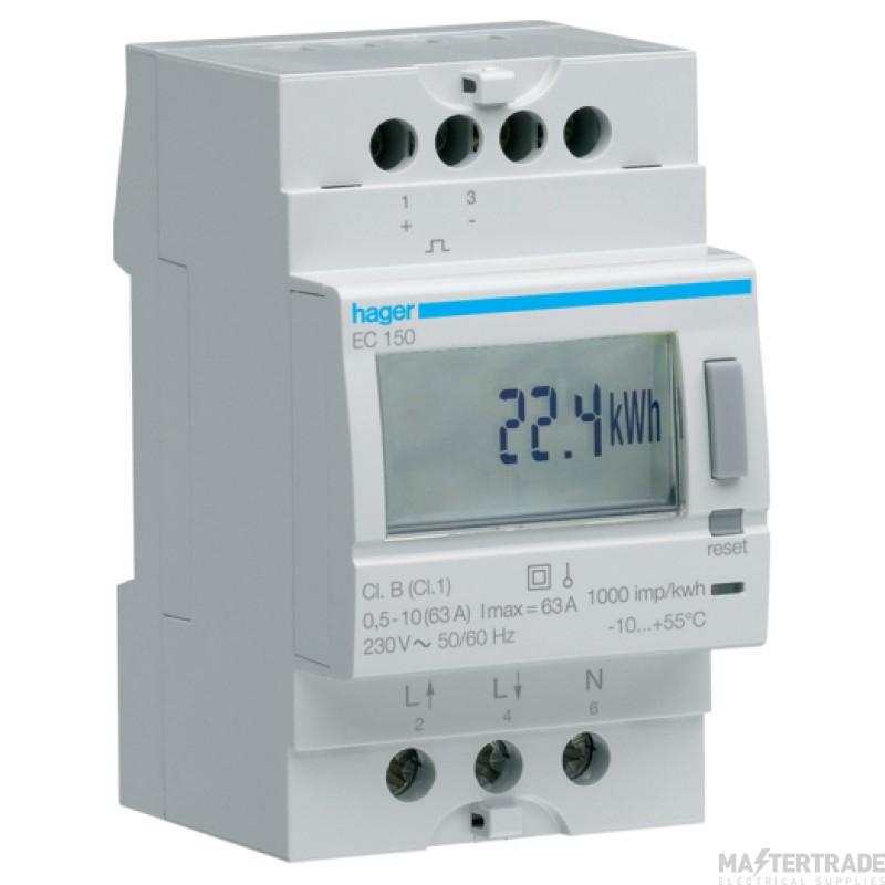Hager EC150 Kilowatt Hour Meter 1Ph 63A