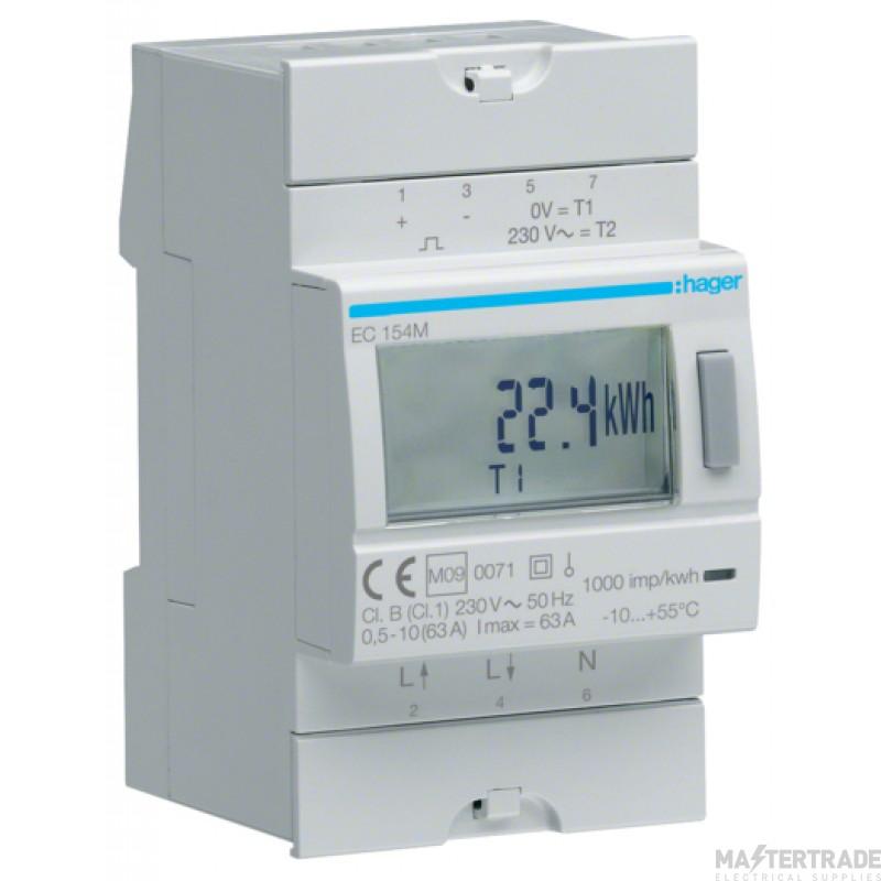 Hager EC154M Kilowatt Hour Meter 1Ph 63A