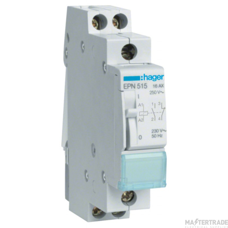 Hager EPN515 Latching Relay 1NO+1NC 230V