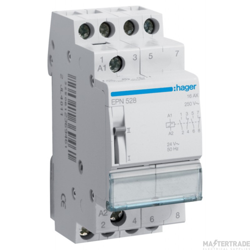 Hager EPN528 Latching Relay 2NO+2NC 24V