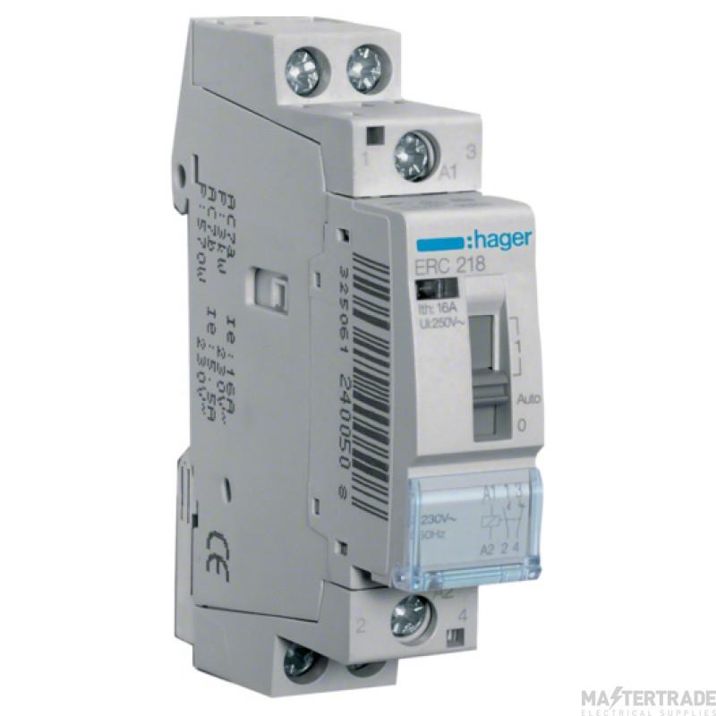 Hager ERC218 Relay 1NO+1NC 16A 230V