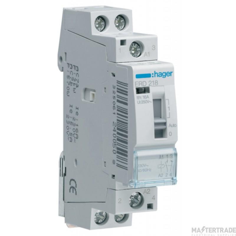 Hager ERD218 Relay 1NO+1NC 16A 24V