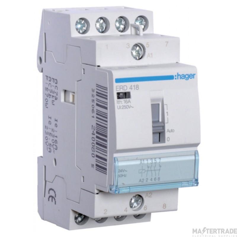 Hager ERD418 Relay 2NO+2NC 16A 24V